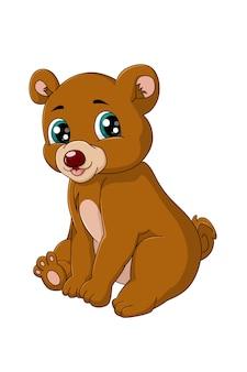 Ours brun mignon petit bébé heureux