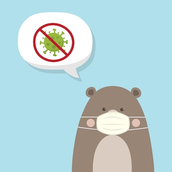 Ours brun mignon portant un masque médical sur fond bleu ciel. coronavirus (covid-19) illustration. ours en peluche kawaii.