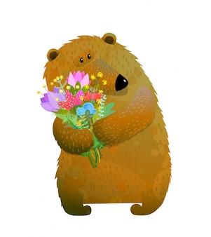 Ours brun tenant un bouquet de fleurs