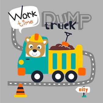 Ours et camion à benne
