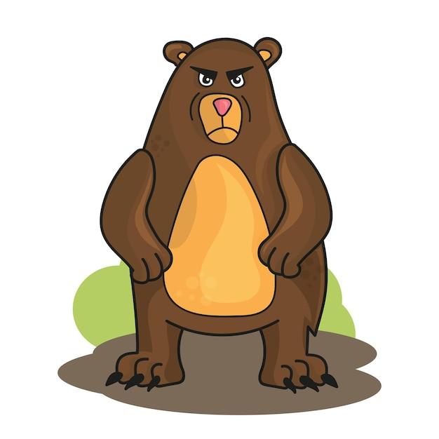 Ours en colère de dessin animé drôle de vecteur isolé sur blanc