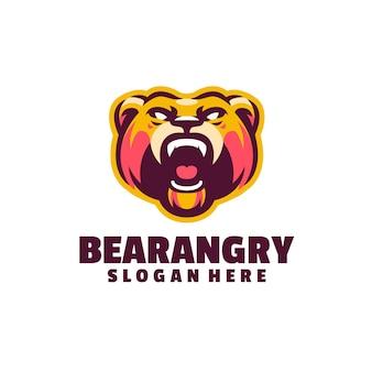 Ours en colère logo isolé sur blanc