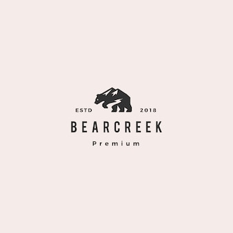 Ours creek monter logo hipster retro vintage