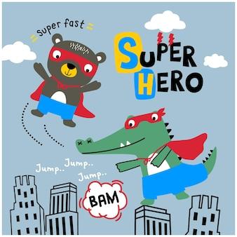 Ours et crocodile le super héros animal drôle cartoo