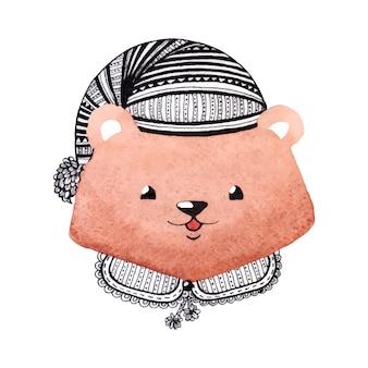 Ours dans le chapeau.
