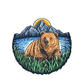 Ours dans les montagnes sauvages et le soleil, ligne dessinée à la main avec couleur numérique, illustration