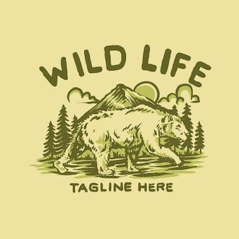 Ours dans la nature illustration vintage