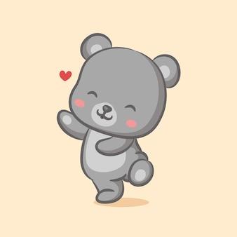 Ours dansant avec plein d'amour sur son visage