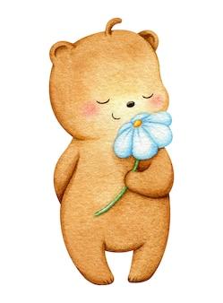 Ours debout et sentant une fleur blanche. illustration de grizzly girly mignon peint à la main à l'aquarelle. pour les impressions d'enfants, la conception de cartes postales, les tissus.
