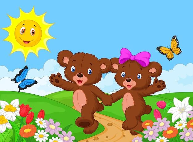 Ours de dessin animé heureux