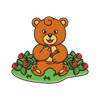 Ours de dessin animé mange des fraises
