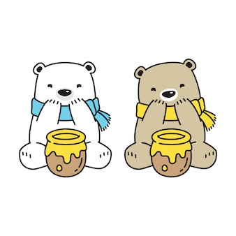 Ours, dessin animé, miel polaire