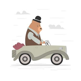Ours de dessin animé mignon conduisant une voiture classique