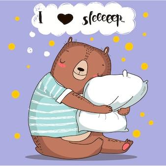 Ours de dessin animé mignon avec oreiller. illustration vectorielle