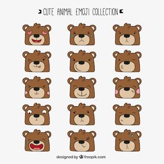 Ours dessinées à la main avec des visages expressifs