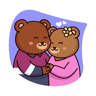 Ours doux couple avec des coeurs