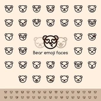 Ours emoji fait face ligne