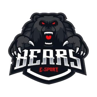 Ours esport mascotte logo design vecteur