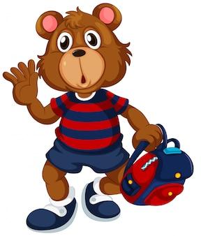 Ours étudiant avec sac à dos