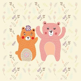 Ours avec fleur vecteur de griffonnage.