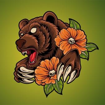 Ours et fleur