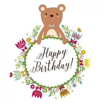 Ours avec floral carte d'anniversaire de châssis