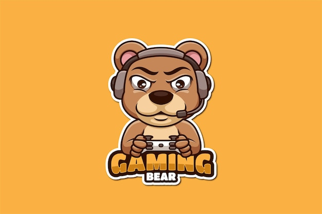 Ours gaming cartoon mascotte logo design