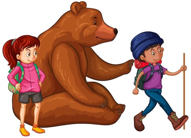 Ours grizzli et deux randonneurs
