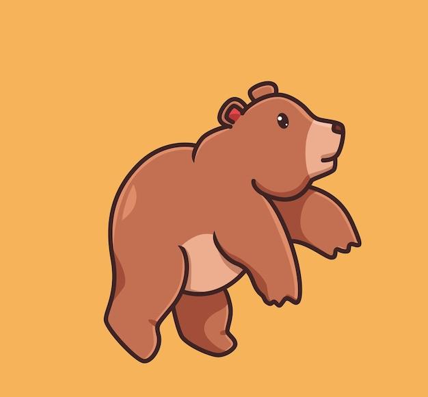 Ours grizzli mignon sautant de brun. concept de nature animale de dessin animé illustration isolée. style plat adapté au vecteur de logo premium sticker icon design. personnage de mascotte