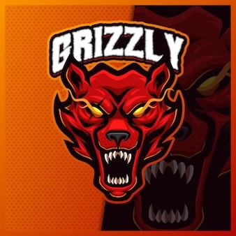 Ours grizzlis fous rugir mascotte esport modèle d'illustrations de conception de logo, style cartoon polaire