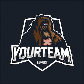 Ours grizzly, manteau, guerrier, esport, gaming, mascotte, logo, modèle