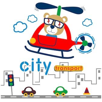 Ours sur l'hélicoptère dans le dessin animé drôle de ville. illustration.