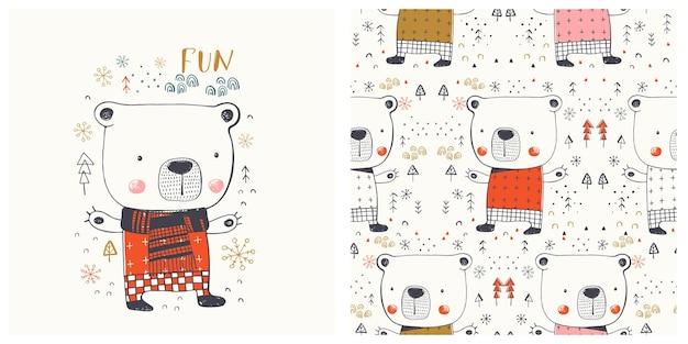 Ours d'hiver mignon bagout sans couture mis illustration vectorielle dessinés à la main