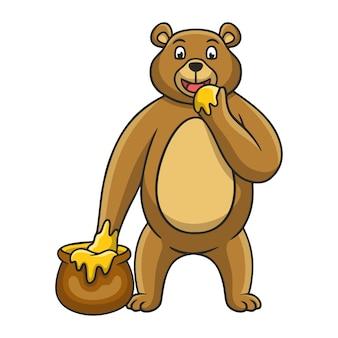 Ours d'illustration de dessin animé mangeant du miel