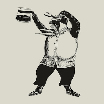 Ours avec illustration d'identité d'entreprise logo café entreprise