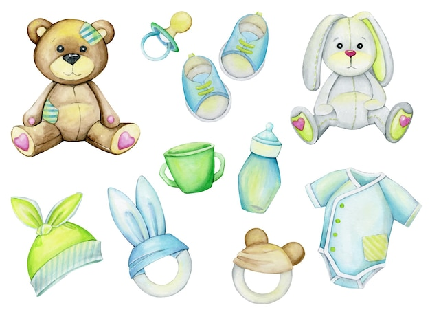 Ours, lapin, tétine, chaussures, vêtements, chapeau, tasse, jouets. ensemble aquarelle.