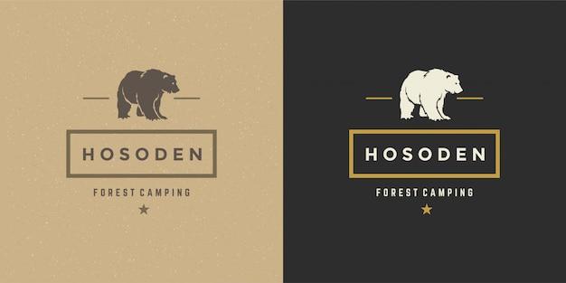 Ours logo emblème vector illustration silhouette pour chemise ou timbre imprimé