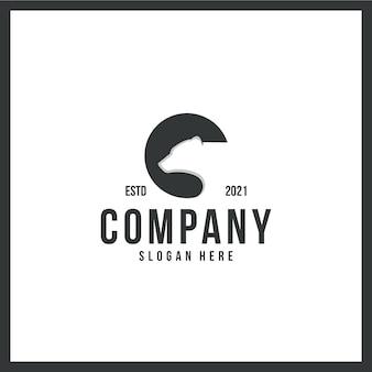 Ours de logo, tête, fort, marque déposée, avec concept de couleur noir et blanc