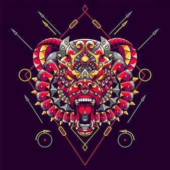 Ours mandala zentangle illustration et conception de tshirt