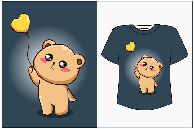 Ours de maquette de conception de t-shirt avec illustration de dessin animé de ballon