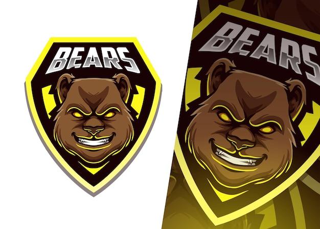 Ours mascotte logo esport illustration