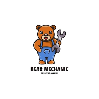 Ours mécanicien mascotte cartoon style logo