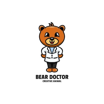 Ours médecin mascotte style de dessin animé logo
