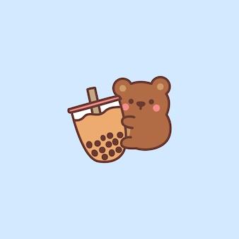 Ours mignon aime la bande dessinée de thé à bulles, illustration vectorielle