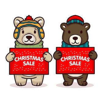 Ours mignon avec bannière de vente de noël