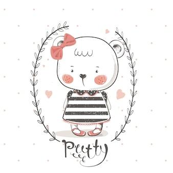 Ours mignon avec bowcartoon illustration vectorielle dessinés à la main peut être utilisé pour l'impression de t-shirt pour bébé