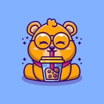 Ours mignon buvant une caricature de thé au lait boba