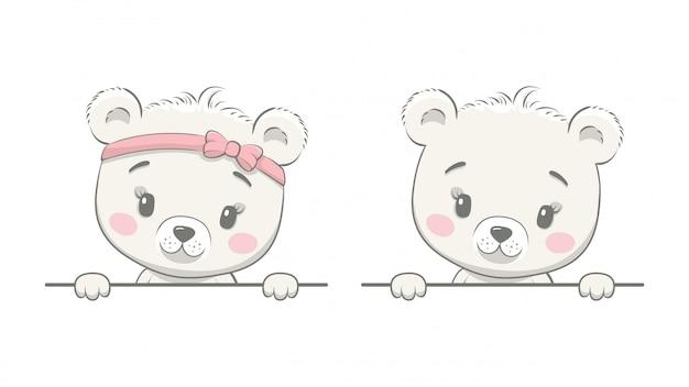 Ours mignon avec cadre blanc. modèle de brochure publicitaire avec ours garçon ou ours fille.