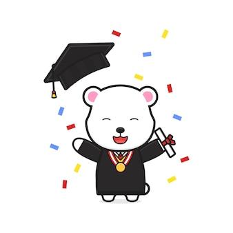 Ours mignon célébrer le jour de la remise des diplômes icône illustration de dessin animé. concevoir un style cartoon plat isolé