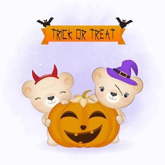 Ours mignon et chauve-souris avec citrouille et illustration d'halloween animal de dessin animé dessiné